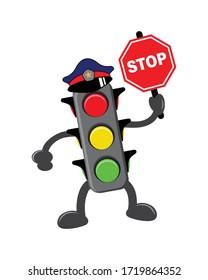cartoon traffic light images, vector illutration.