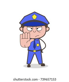 Cartoon Traffic-Officer Showing Stop Hand-Sign Vector
