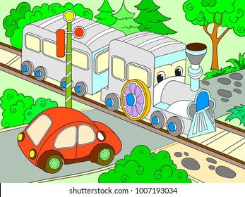 Cartoon train and car for children color vector illustration. Colorful picture