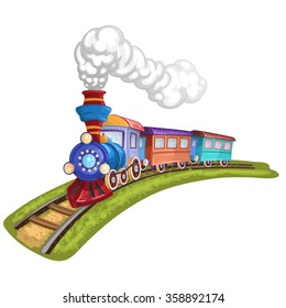 Cartoon  train with colorful carriage in railroad