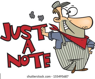 Cartoon train conductor standing next to just a note text