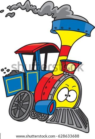 Cartoon Train Engine Stock Vektorgrafik Lizenzfrei 628633688