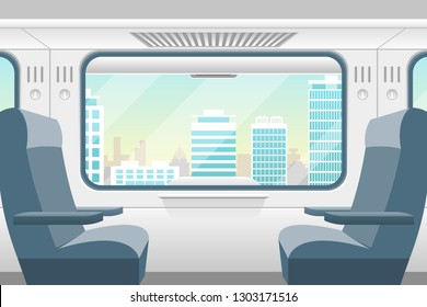 Cartoon Train Inside Interior and Window View Landscape Comfortable Voyage Concept Element Flat Design Style. Vector illustration