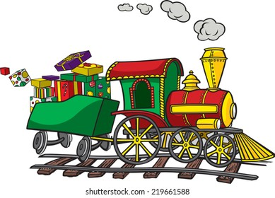 A cartoon Train. Layered vector file available. Train, presents and track are on separate layers. Christmas Train