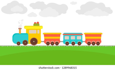 Cartoon train on a white background with colorful carrige