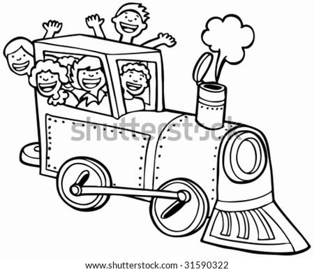 Cartoon Train Ride Line Art Kids Stock Vector Royalty Free