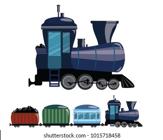 Cartoon train. Vector illustration of a railway transport. Figure train for children.