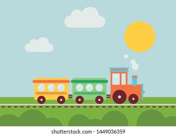 Cartoon train for your design. Rethinked design. Smooth colors, simple art.