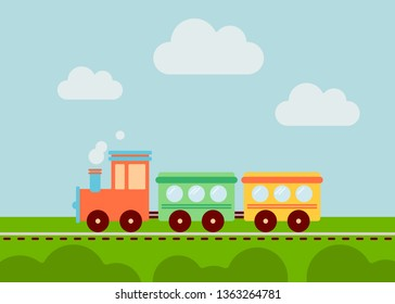 Cartoon train for your design. Smooth colors, simple art.