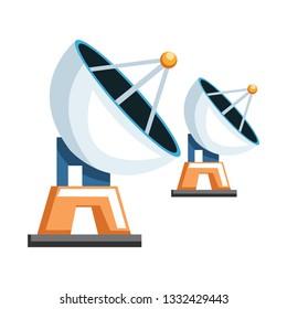 Cartoon transmitter receiver vector illustration on white background.