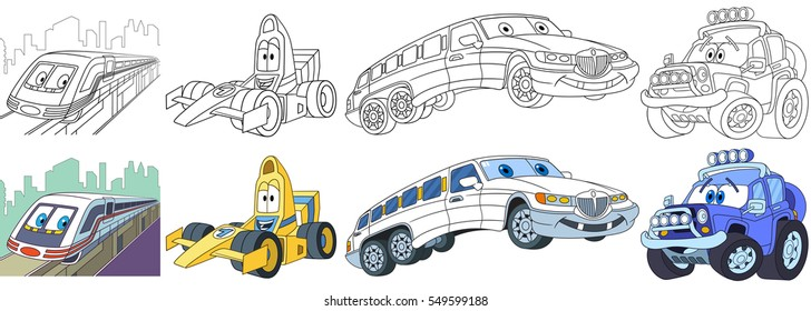 cartoon transport set collection vehicles 260nw