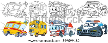 Cartoon Transport Set Collection Of Vehicles Ambulance School Bus Fire Truck
