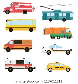 Cartoon transport set. Fire truck, trolley, bus, emergency, taxi, ambulance. Vector illustration
