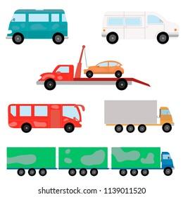 Cartoon transport set. Truck, bus, semi-trailer truck. Vector illustration