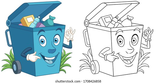 Cartoon trash can full of garbage. Coloring page and colorful clipart character. Cute design for t shirt print, icon, logo, label, patch or sticker. Vector illustration.