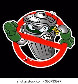 Cartoon trash can.Junk cartoon.Junkbuster