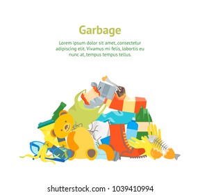Cartoon Trash and Garbage Card Poster Ecology Recycling Concept Flat Design Style. Vector illustration of Waste