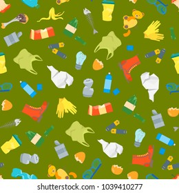 Cartoon Trash and Garbage Seamless Pattern Background Ecology Recycling Concept Flat Design Style. Vector illustration of Waste