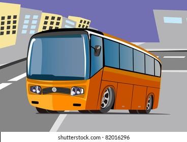 cartoon travel bus