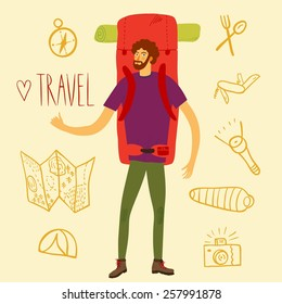 Cartoon traveler hitchhiker with a large backpack and  and doodle drawings including map, flashlight, camera, knife, sleeping bag, tent, compass. Backpacker illustration