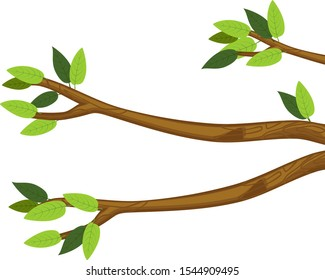 Cartoon tree branches with green leaves isolated on white background