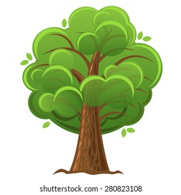 Cartoon tree, green oak with luxuriant foliage. vector illustration