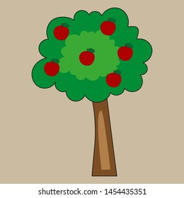 Cartoon tree with red apples