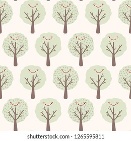 Cartoon tree seamless vector pattern. Hand drawn woodland with adorable smiling happy face.  Deciduous summer forest border. Cute kids nature doodle.