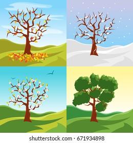 Cartoon Tree Seasons Set on a Nature Landscape Background Summer, Spring, Winter and Autumn Environment Scene. Vector illustration