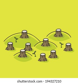 Cartoon tree stumps in a forest that was completely cut down.