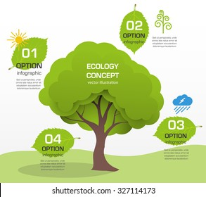 cartoon tree vector infographics paper ecological preservation of nature and environment