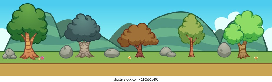 Cartoon trees background. Vector clip art illustration with simple gradients. Some elements on separate layers.