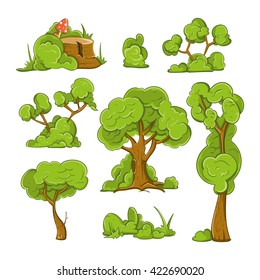 Cartoon trees and bushes set. Plant green, forest. Vector illustration