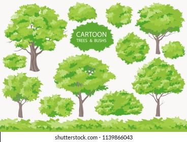 Cartoon trees and bushs. Big set difference shape tree. Grass on white background. Collection isolated crown of the tree. Vector illustration tree for game design or landscape nature in park.