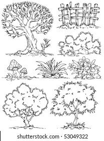 Cartoon Trees Flowers Bushes-Clip-Art