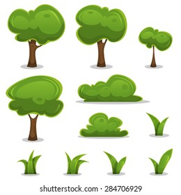 Cartoon Trees, Hedges And Grass Leaves Set/ Illustration of a set of cartoon spring or summer little trees and green icons, with bush, hedges and blades of grass for ui game