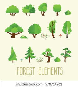 Cartoon trees isolated on a picture