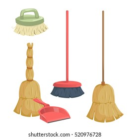 Cartoon trendy cleaning service icons set. Vintage natural and modern plastic brooms, dust pan and clean brush.