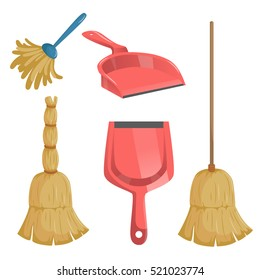 Cartoon trendy cleaning service icons set. Natural broom and different dustpans, feather duster.