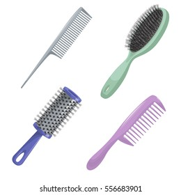 Cartoon trendy design haircare icon set. Metal and plastic comb, cylinder and brush hair styling accessories tools. Vector illustration.
