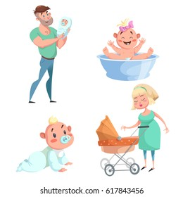 Cartoon trendy design mother and babies sticker icons set. Washing girl in basin and crawl baby, father holding newborn, mother with stroller.