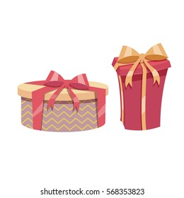 Cartoon trendy design vintage gift box set. Yellow round box with red ribbon and red box.