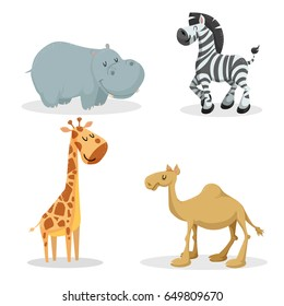 Cartoon trendy style african animals set. Hippo, zebra, giraffe, dromedary camel. Closed eyes and cheerful mascots. Vector wildlife illustrations.