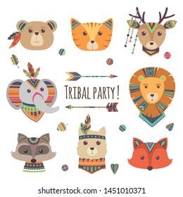 Cartoon tribal animal heads isolated on white background. Vector lama, bear, elephant, raccoon, fox, cat ethnic style illustration. Tribal fox and deer, raccoon and lama, alpaca and elephant
