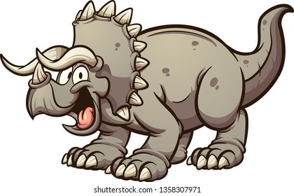 Cartoon triceratops dinosaur clip art. Vector illustration with simple gradients. All in a single layer.
