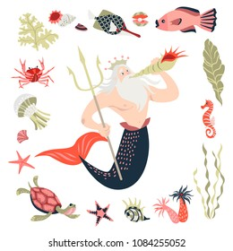 Cartoon triton surrounded by tropical fish, animal, seaweed and corals. Fairy tale character.  Sea life. Set of cute isolated vector illustrations on white background