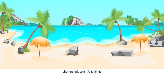 Cartoon Beach Rocks Wallpaper