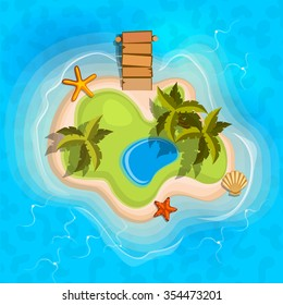cartoon tropical exotic island in ocean. Top view island sprite. Vector game design for app