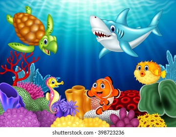 Cartoon tropical fish and beautiful underwater world with corals
