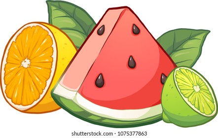 Cartoon tropical fruits. Vector clip art illustration with simple gradients.